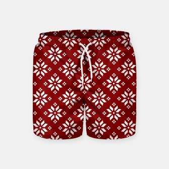 Large Dark Christmas Candy Apple Red with White Poinsettia Flowers Swim Shorts imagen en miniatura