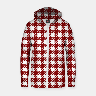 Large Dark Christmas Candy Apple Red Gingham Plaid Check Zip up hoodie imagen en miniatura