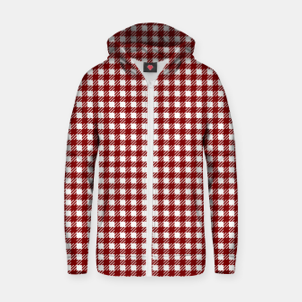 Imagen en miniatura de Dark Christmas Candy Apple Red Gingham Plaid Check Zip up hoodie, Live Heroes