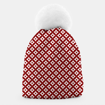 Miniaturka Dark Christmas Candy Apple Red and White Cross-Hatch Astroid Grid Pattern Beanie, Live Heroes