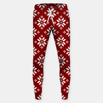 Large Dark Christmas Candy Apple Red with White Poinsettia Flowers Sweatpants imagen en miniatura