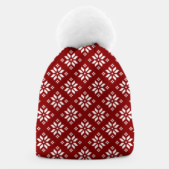 Large Dark Christmas Candy Apple Red with White Poinsettia Flowers Beanie imagen en miniatura