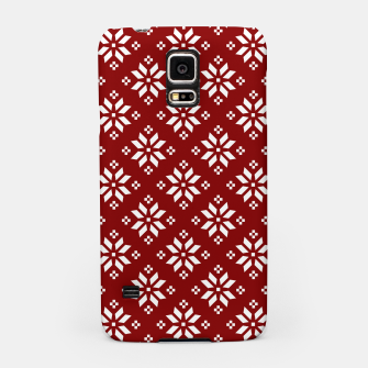 Large Dark Christmas Candy Apple Red with White Poinsettia Flowers Samsung Case imagen en miniatura
