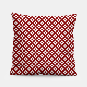 Miniaturka Dark Christmas Candy Apple Red and White Cross-Hatch Astroid Grid Pattern Pillow, Live Heroes