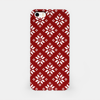 Large Dark Christmas Candy Apple Red with White Poinsettia Flowers iPhone Case imagen en miniatura