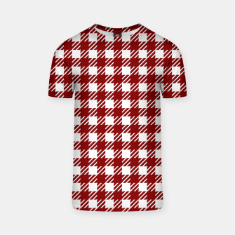 Imagen en miniatura de Large Dark Christmas Candy Apple Red Gingham Plaid Check T-shirt, Live Heroes