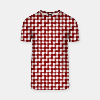 Imagen en miniatura de Dark Christmas Candy Apple Red Gingham Plaid Check T-shirt, Live Heroes