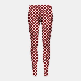 Miniaturka Large Dark Christmas Candy Apple Red and White Cross-Hatch Astroid Grid Pattern Girl's leggings, Live Heroes