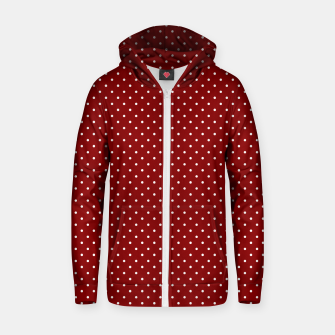 White Polka Dots On Dark Christmas Candy Apple Red Zip up hoodie imagen en miniatura