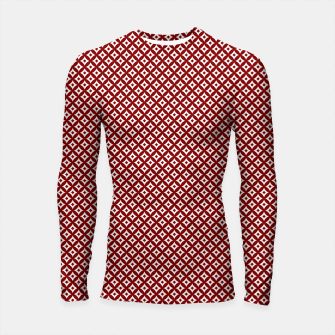 Miniaturka Large Dark Christmas Candy Apple Red and White Cross-Hatch Astroid Grid Pattern Longsleeve rashguard , Live Heroes