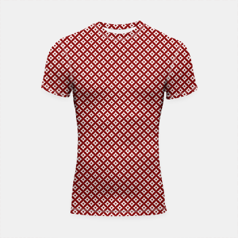 Miniaturka Large Dark Christmas Candy Apple Red and White Cross-Hatch Astroid Grid Pattern Shortsleeve rashguard, Live Heroes