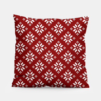 Large Dark Christmas Candy Apple Red with White Poinsettia Flowers Pillow imagen en miniatura