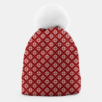 Miniatur Dark Christmas Christmas Candy Apple Red with White Poinsettia Flowers Beanie, Live Heroes