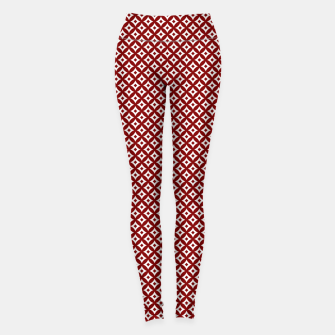Miniaturka Large Dark Christmas Candy Apple Red and White Cross-Hatch Astroid Grid Pattern Leggings, Live Heroes