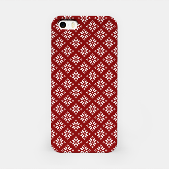 Miniatur Dark Christmas Christmas Candy Apple Red with White Poinsettia Flowers iPhone Case, Live Heroes