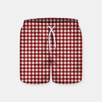 Imagen en miniatura de Dark Christmas Candy Apple Red Gingham Plaid Check Swim Shorts, Live Heroes