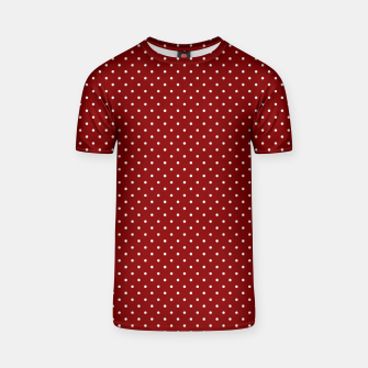 White Polka Dots On Dark Christmas Candy Apple Red T-shirt imagen en miniatura