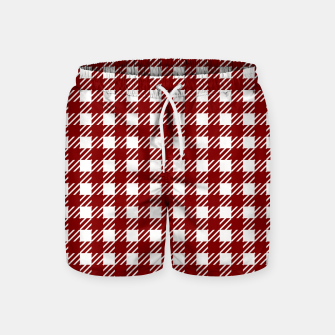 Imagen en miniatura de Large Dark Christmas Candy Apple Red Gingham Plaid Check Swim Shorts, Live Heroes