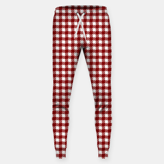 Imagen en miniatura de Dark Christmas Candy Apple Red Gingham Plaid Check Sweatpants, Live Heroes