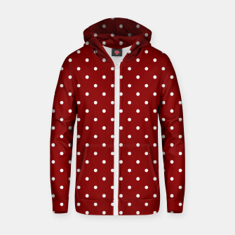 Large White Polka Dots On Dark Christmas Candy Apple Red Zip up hoodie imagen en miniatura
