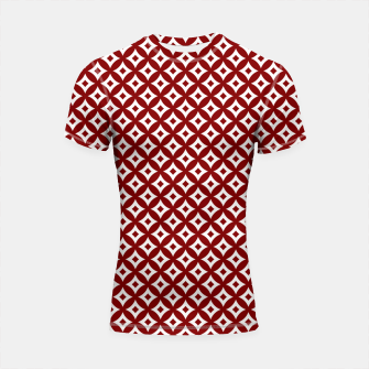 Miniaturka Dark Christmas Candy Apple Red and White Cross-Hatch Astroid Grid Pattern Shortsleeve rashguard, Live Heroes