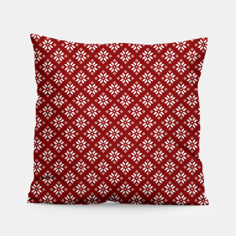 Miniatur Dark Christmas Christmas Candy Apple Red with White Poinsettia Flowers Pillow, Live Heroes