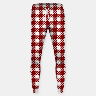 Imagen en miniatura de Large Dark Christmas Candy Apple Red Gingham Plaid Check Sweatpants, Live Heroes