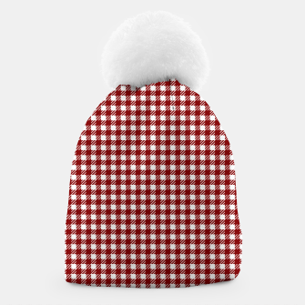 Imagen en miniatura de Dark Christmas Candy Apple Red Gingham Plaid Check Beanie, Live Heroes