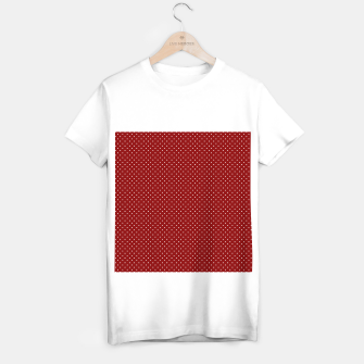 White Polka Dots On Dark Christmas Candy Apple Red T-shirt regular imagen en miniatura