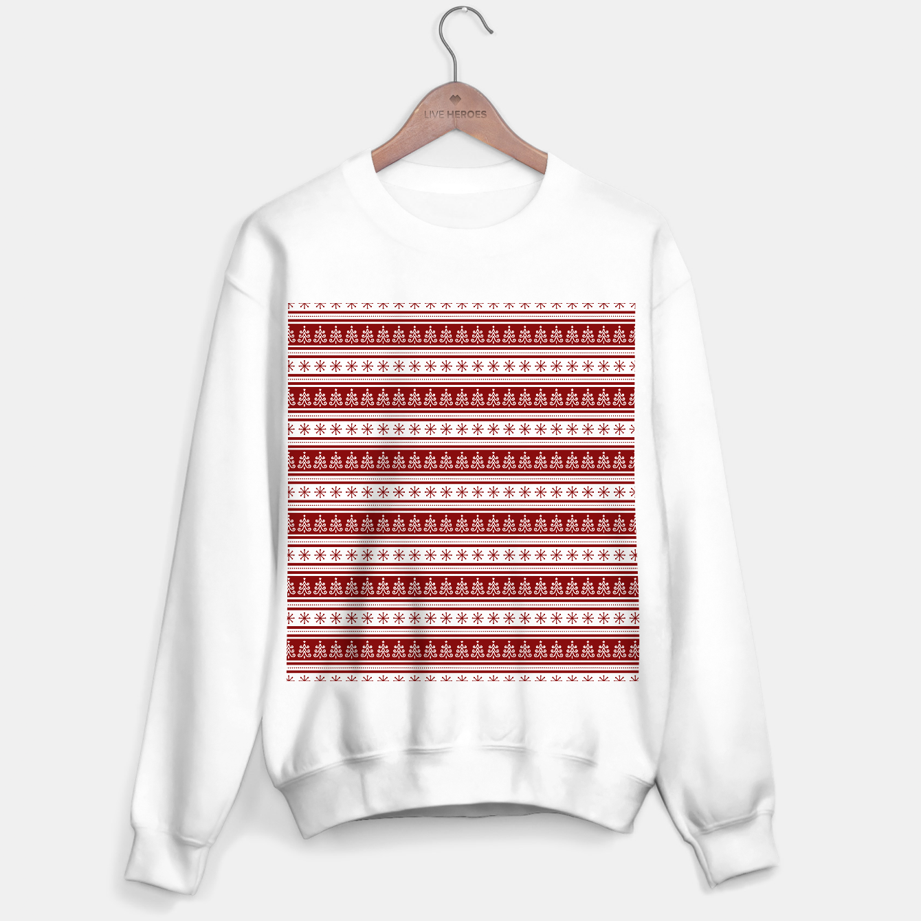 Imagen de Dark Christmas Candy Apple Red Nordic Trees Stripe in White Sweater regular - Live Heroes