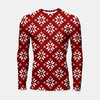 Large Dark Christmas Candy Apple Red with White Poinsettia Flowers Longsleeve rashguard  imagen en miniatura