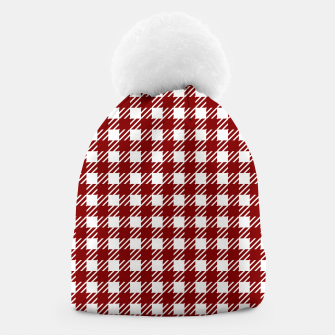 Imagen en miniatura de Large Dark Christmas Candy Apple Red Gingham Plaid Check Beanie, Live Heroes