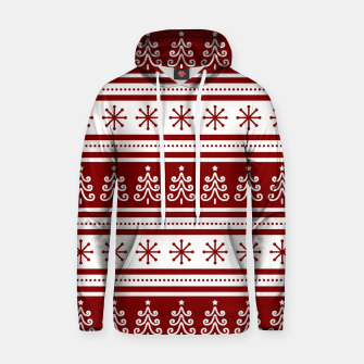 Large Dark Christmas Candy Apple Red Nordic Trees Stripe in White Hoodie imagen en miniatura