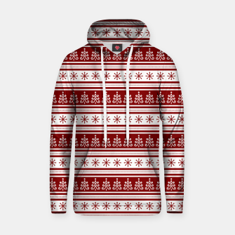 Dark Christmas Candy Apple Red Nordic Trees Stripe in White Hoodie imagen en miniatura