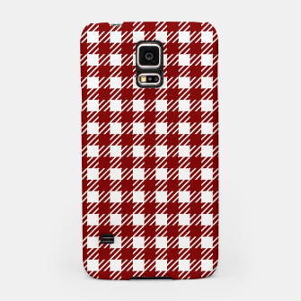 Imagen en miniatura de Large Dark Christmas Candy Apple Red Gingham Plaid Check Samsung Case, Live Heroes