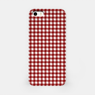 Imagen en miniatura de Dark Christmas Candy Apple Red Gingham Plaid Check iPhone Case, Live Heroes