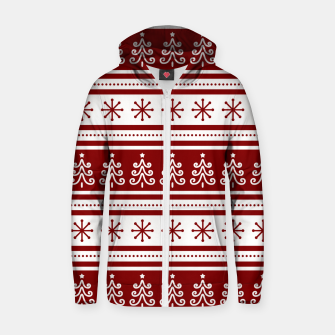 Large Dark Christmas Candy Apple Red Nordic Trees Stripe in White Zip up hoodie imagen en miniatura