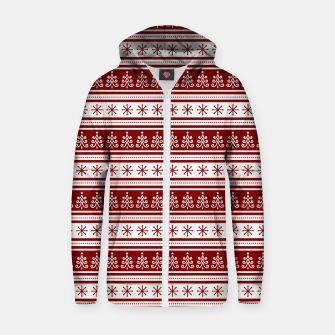 Dark Christmas Candy Apple Red Nordic Trees Stripe in White Zip up hoodie imagen en miniatura