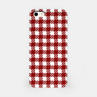 Imagen en miniatura de Large Dark Christmas Candy Apple Red Gingham Plaid Check iPhone Case, Live Heroes
