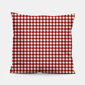 Imagen en miniatura de Dark Christmas Candy Apple Red Gingham Plaid Check Pillow, Live Heroes