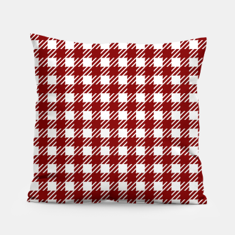 Large Dark Christmas Candy Apple Red Gingham Plaid Check Pillow imagen en miniatura