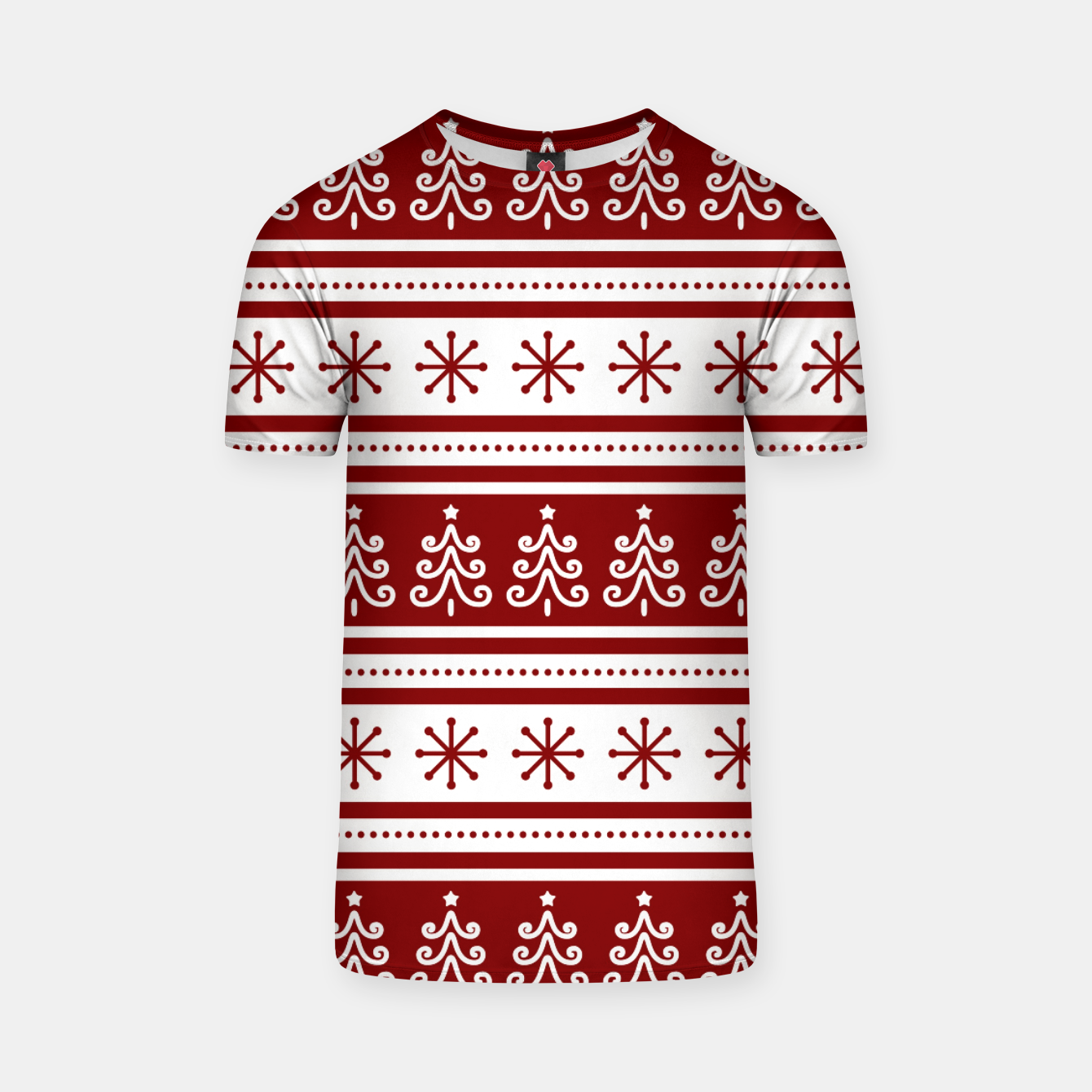 Imagen de Large Dark Christmas Candy Apple Red Nordic Trees Stripe in White T-shirt - Live Heroes
