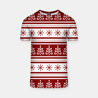 Large Dark Christmas Candy Apple Red Nordic Trees Stripe in White T-shirt imagen en miniatura