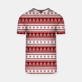 Dark Christmas Candy Apple Red Nordic Trees Stripe in White T-shirt imagen en miniatura