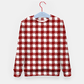 Imagen en miniatura de Large Dark Christmas Candy Apple Red Gingham Plaid Check Kid's sweater, Live Heroes