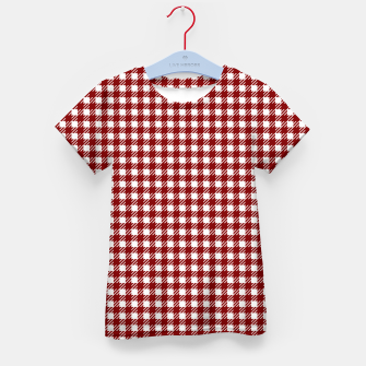 Imagen en miniatura de Dark Christmas Candy Apple Red Gingham Plaid Check Kid's t-shirt, Live Heroes