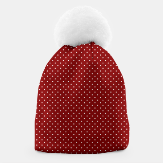 White Polka Dots On Dark Christmas Candy Apple Red Beanie imagen en miniatura