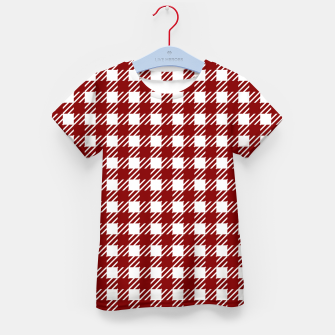 Large Dark Christmas Candy Apple Red Gingham Plaid Check Kid's t-shirt imagen en miniatura