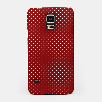 White Polka Dots On Dark Christmas Candy Apple Red Samsung Case imagen en miniatura