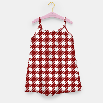 Large Dark Christmas Candy Apple Red Gingham Plaid Check Girl's dress imagen en miniatura